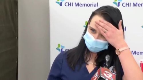 Nurse passes out on live tv after taking COVID19 vaccine. Time stamp 00:33