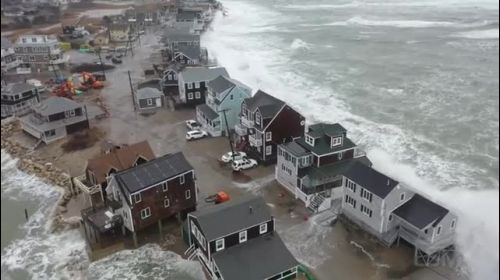 02-02-2021 Scituate- MA - Drone shots of massive waves crash into homes- flooded and damaged homes-